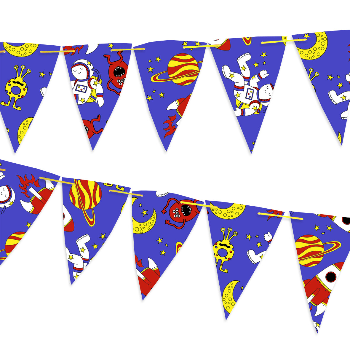 Blue bunting covered with moons, stars and rockets