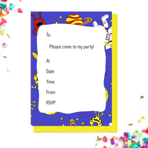 Blue space party invitations