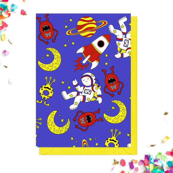 Back of space party invitations
