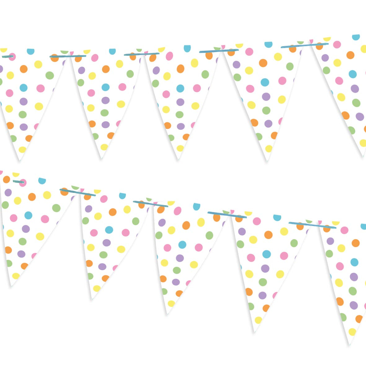 Colourful spotted bunting on a blue ribbon