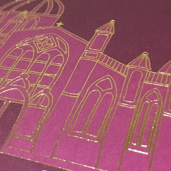Close up of gold foil detail of St Giles church