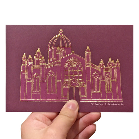 Purple greetings card with a gold foil illustration of St Giles church