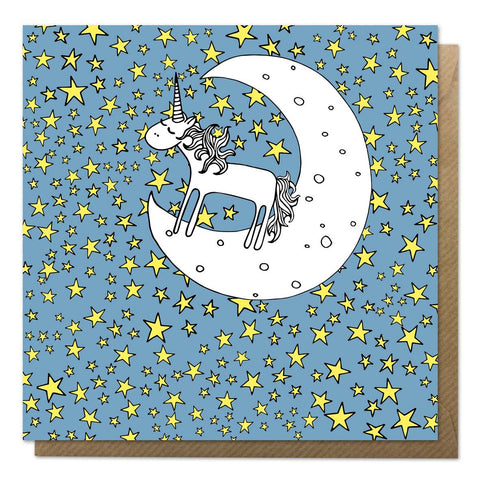 Blue greeting card with an illustration of a unicorn on the moon
