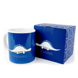 Blue mug with an illustration of a stegosaurus. Mug comes with a matching box