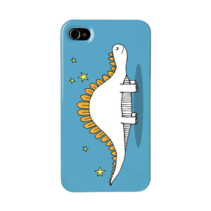 Blue dinosaur phone case with an illustration of a stegosaurus