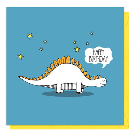 Blue birthday card with an illustration of a stegosaurus