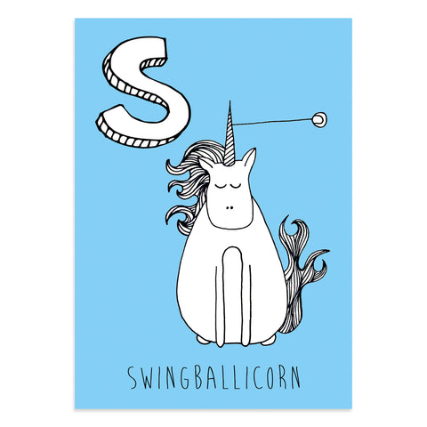 Unicorn postcard featuring the letter S for swingballicorn