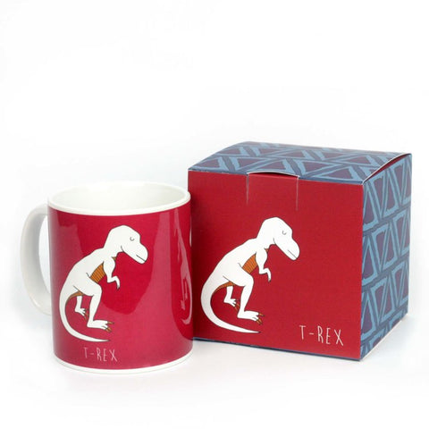 Red T-rex dinosaur mug with matching gift box
