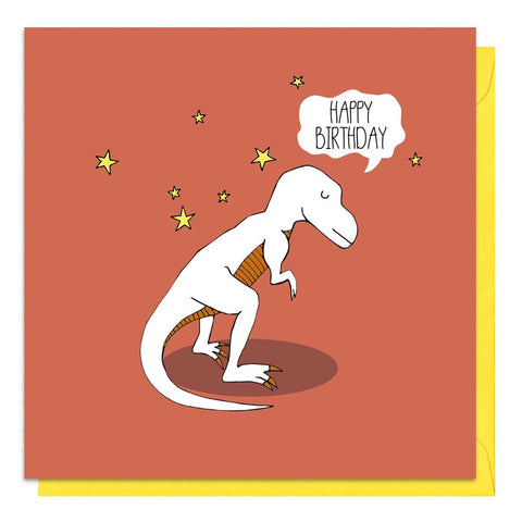 Red birthday card with an illustration of a t-rex