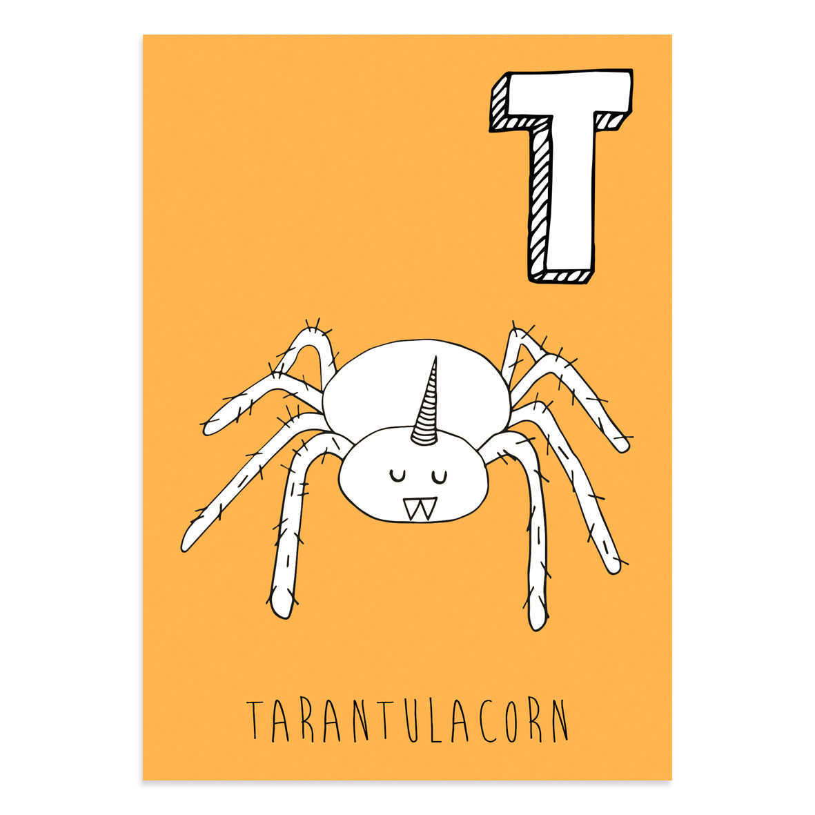 Unicorn postcard featuring the letter T for tarantulacorn
