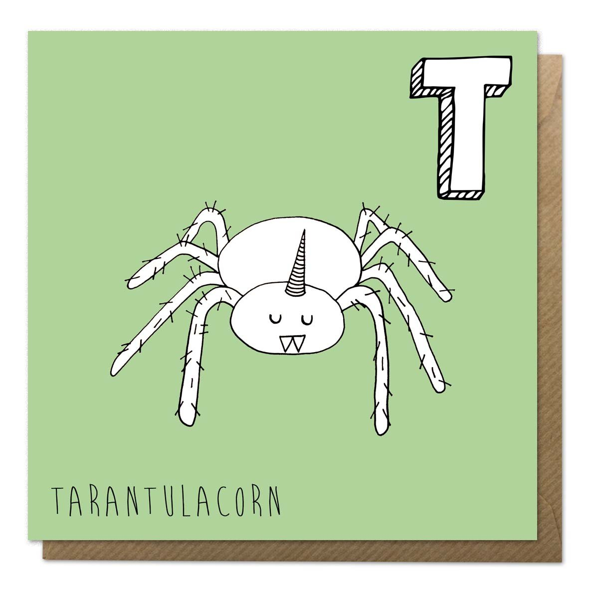 Green alphabet unicorn card with a tarantula unicorn