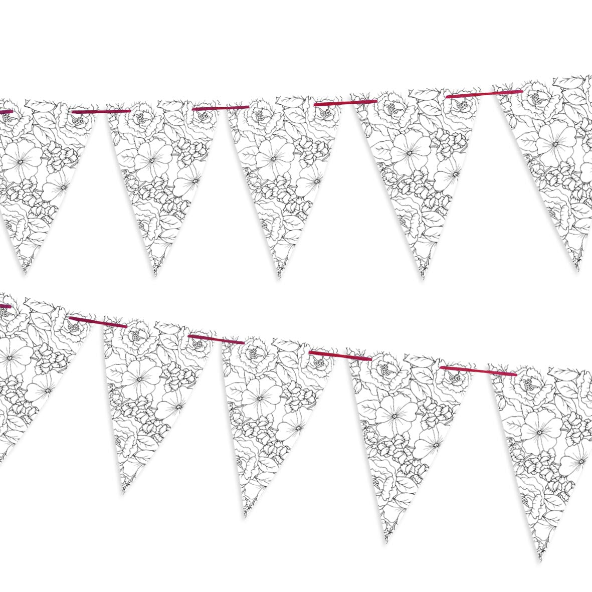 Floral tattoo inspired bunting on a red ribbon