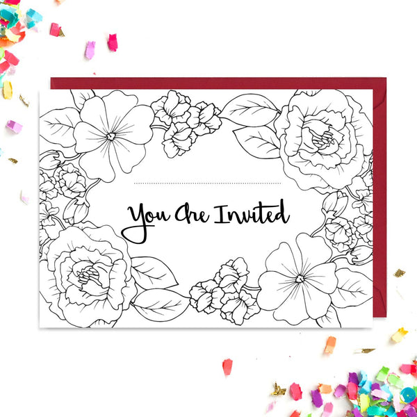 Front of black and white floral tattoo wedding invitations