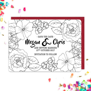 Floral tattoo inspired save the date cards
