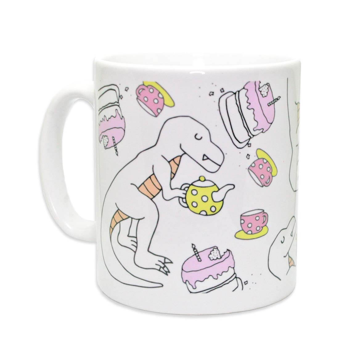 White dinosaur mug with drawing of a t-rex, cake and tea pots
