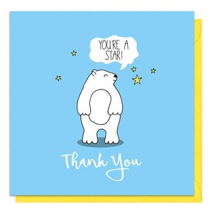 Blue thank you card with an illustration of a white bear