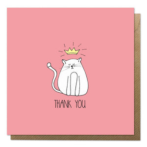 Red thank you card with an illustration of a cat