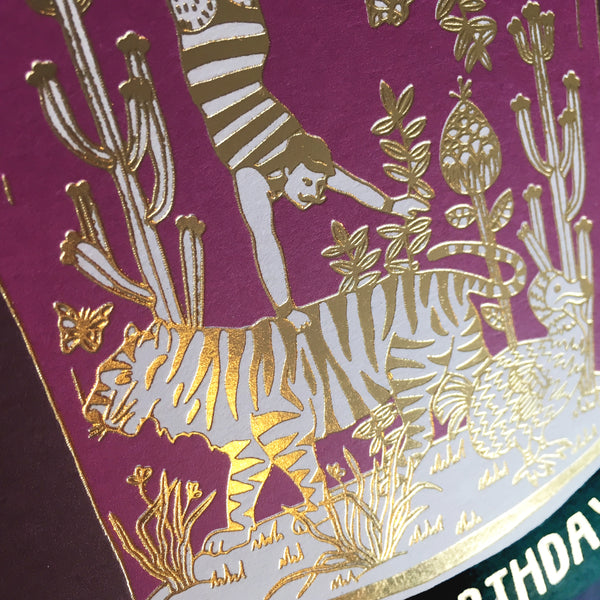 Details of Gold Foil Tiger Belljar Birthday Card