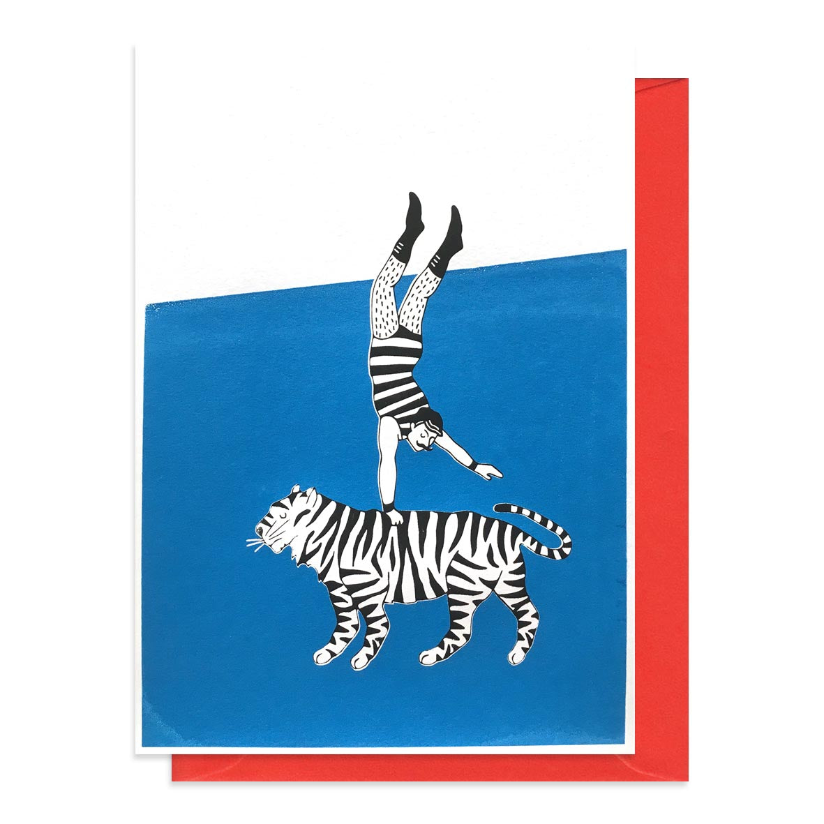 Greetings card featuring a print of an acrobat and a tiger