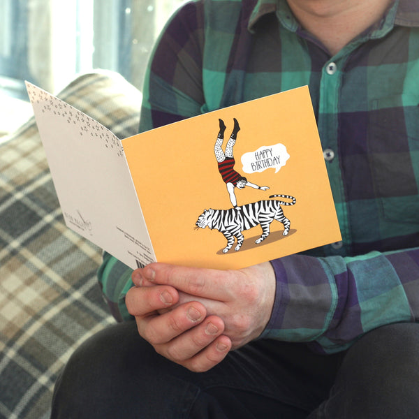 Lifestyle photo of tiger man birthday card