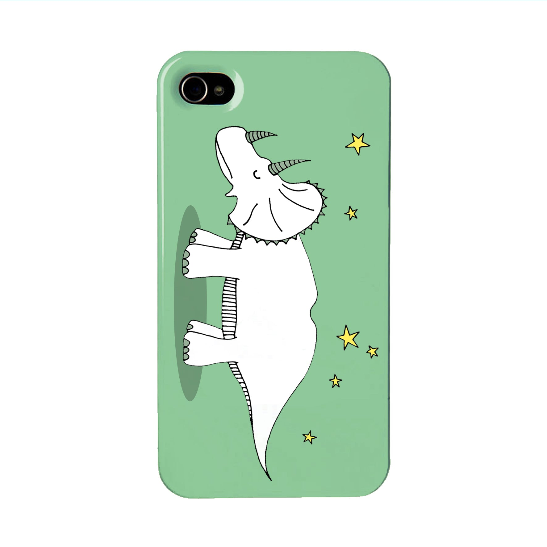 Green dinosaur phone case with an illustration of a triceratops