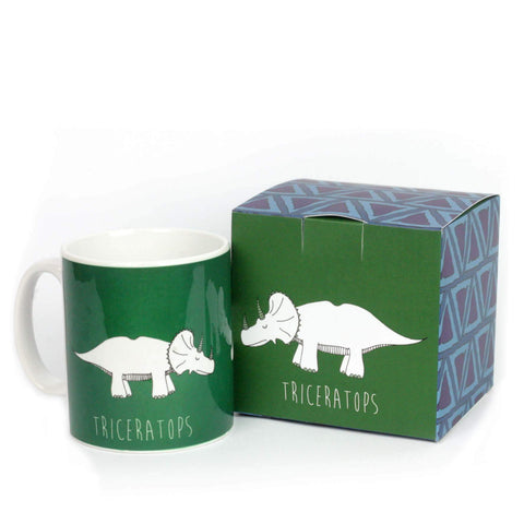 Green triceratops dinosaur mug with matching gift box.