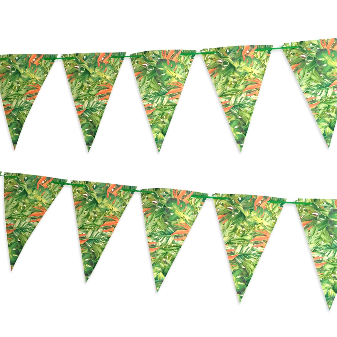 Paper Bunting Covered in tropical leaves