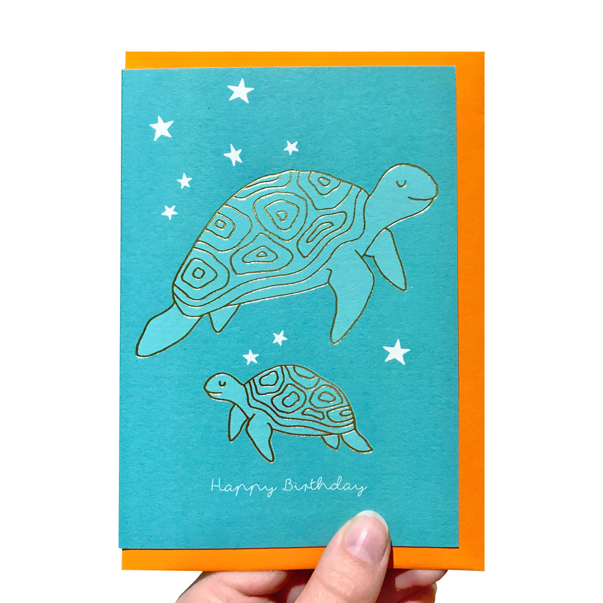 Gold turtle birthday card
