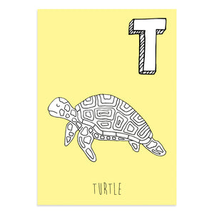 Yellow postcard with an illustration of a turtle
