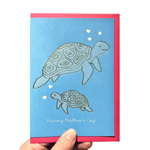 Gold foil turtle mother's day card