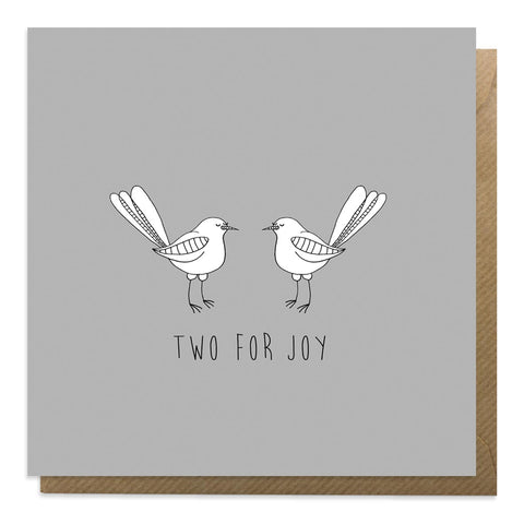 Grey greeting card with an illustration of two magpies