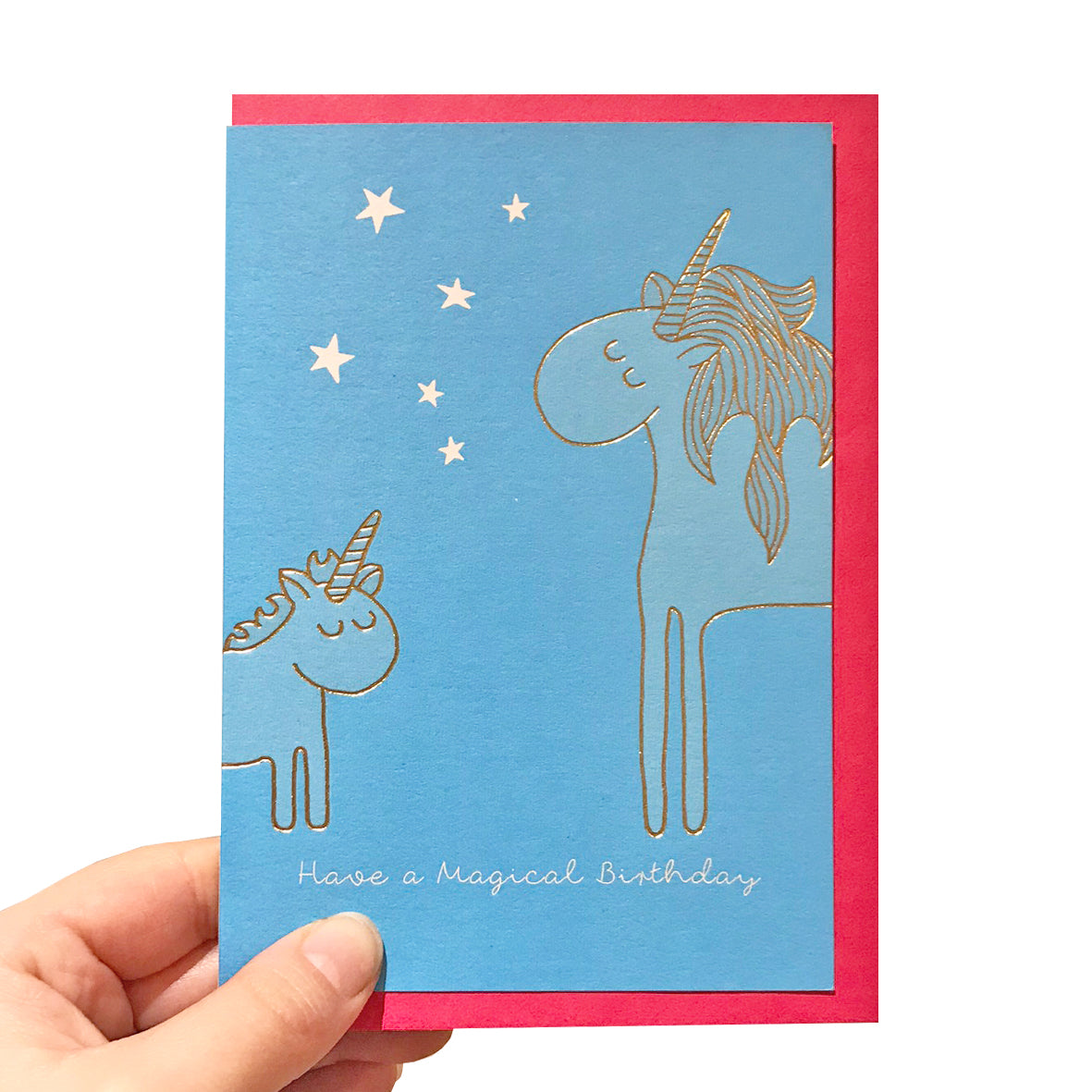 Gold unicorn birthday card