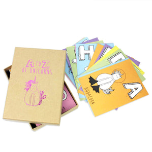 Postcard set - Set of 26 unicorn alphabet postcards in a brown box