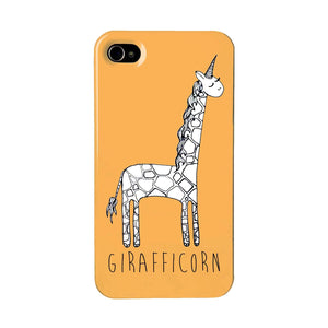 Orange, giraffe unicorn phone case