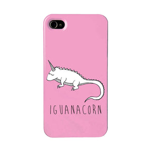 Pink iguana unicorn phone case