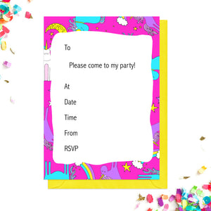Pink unicorn party invitations