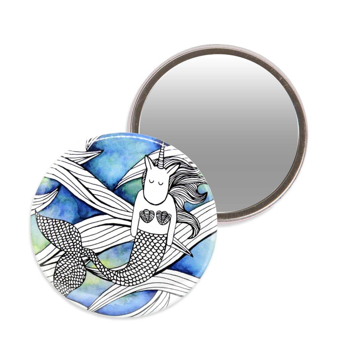 Makeup mirror with an illustration of a unicorn mermaid