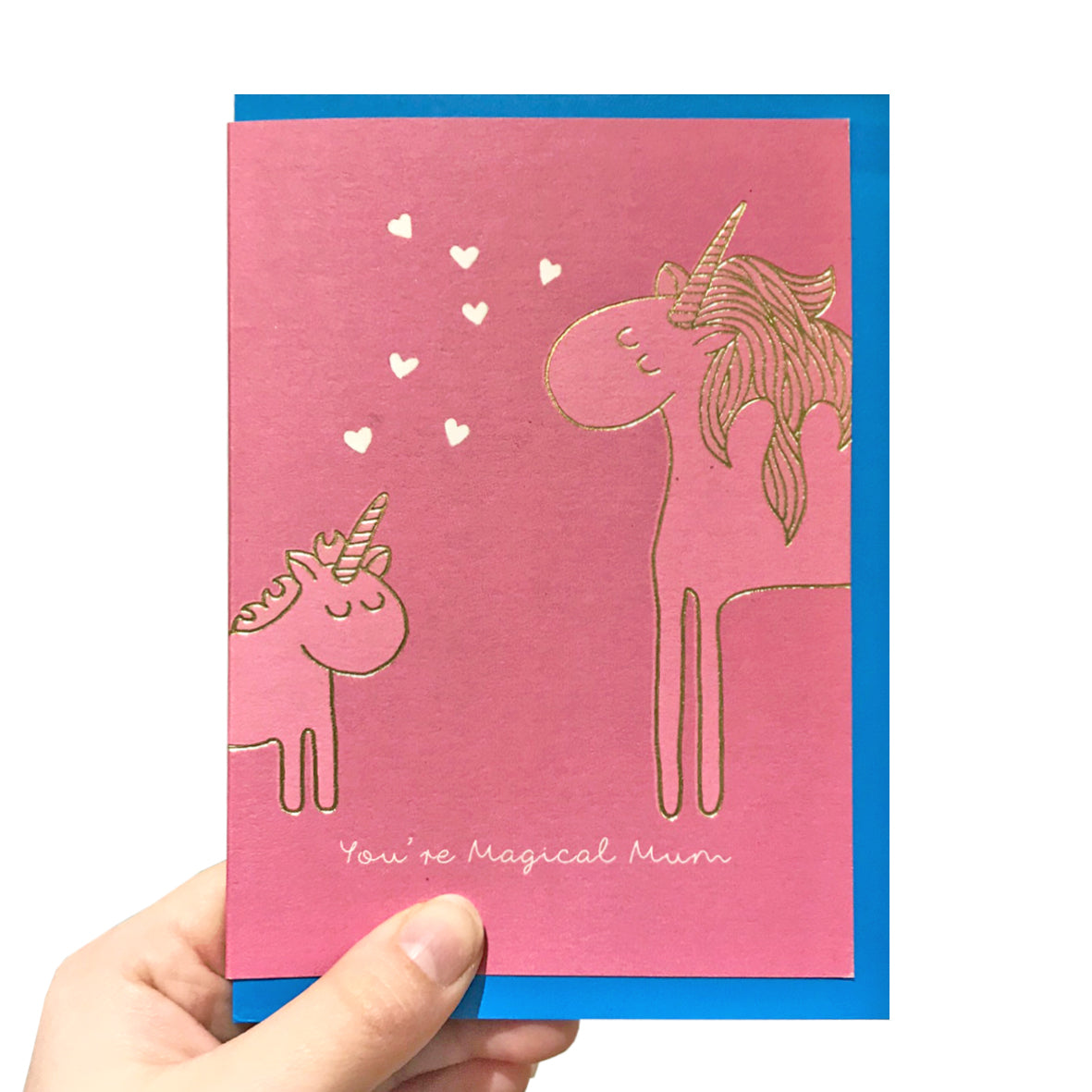 Gold unicorn mother's day card