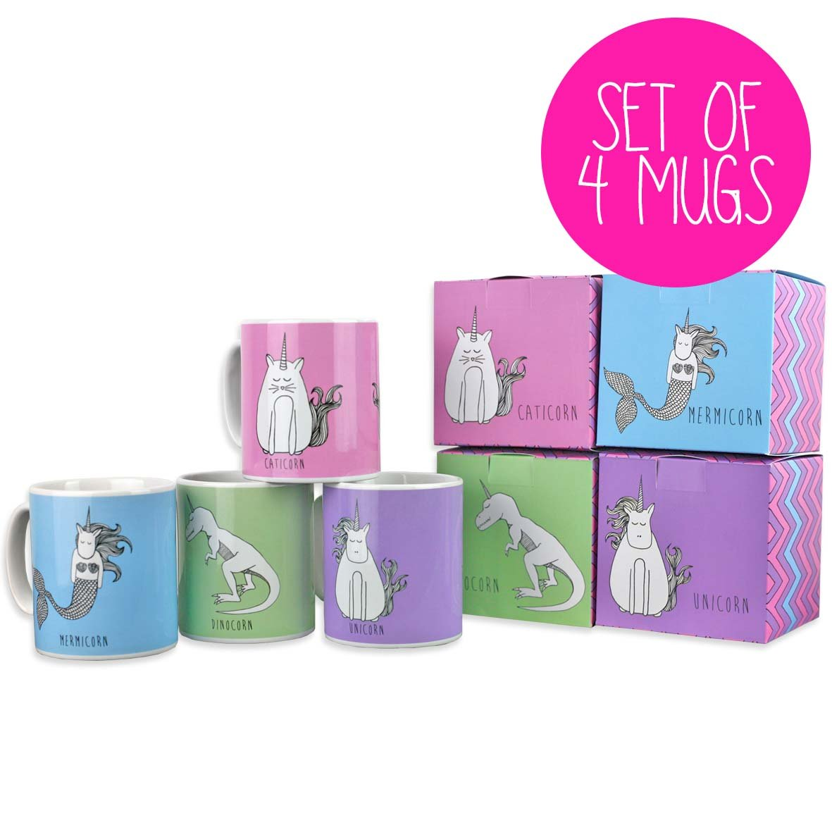 Set of 4 unicorn mugs with matching gift boxes