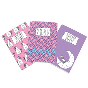 A6 pink and purple unicorn notebook set - cute notebooks
