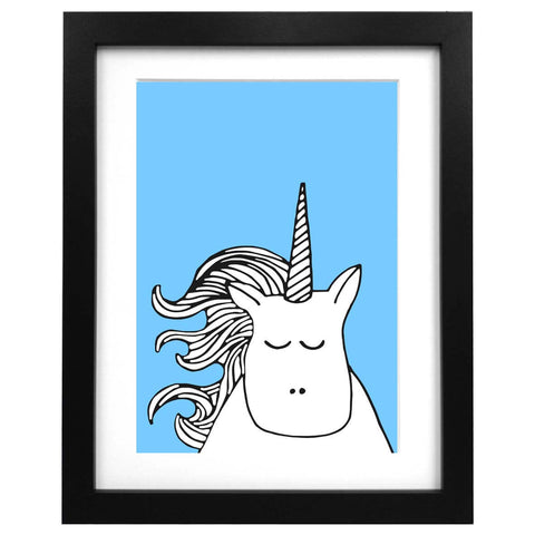Blue A3 art print with an illustration of a beautiful unicorn face
