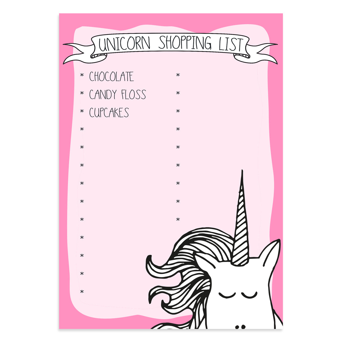 Unicorn Shopping List Pad - Neon Magpie