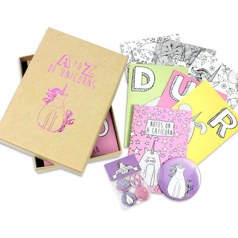 Unicorn surprise box - unicorn gift of notebook, postcards, mirror and badges