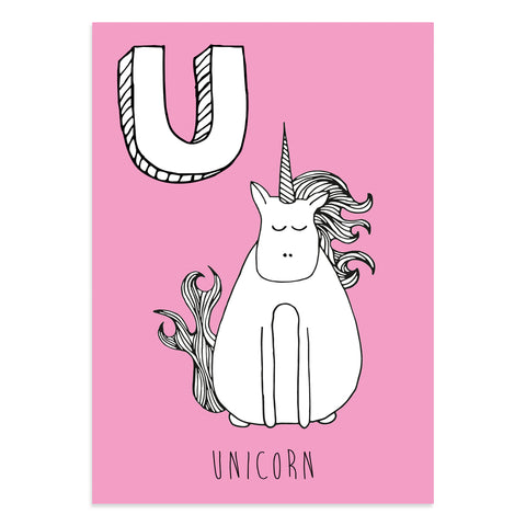Unicorn postcard featuring U for Unicorn