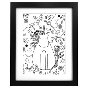 A3 sized art print of a unicorn surrounded by wild flowers