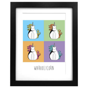 A3 sized art print of an illustration of Warhol unicorns