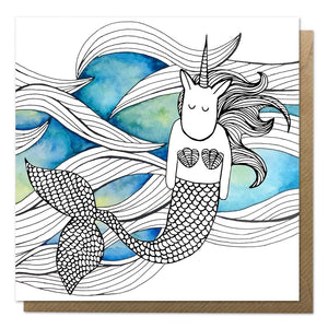 Greeting card with an illustration of a mermaid unicorn on a watercolour background