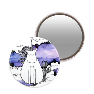 Makeup mirror with an illustration of a unicorn on a watercolour background