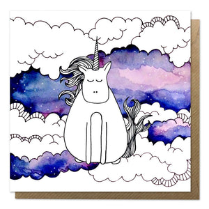 Greeting card with an illustration of a unicorn on a watercolour background