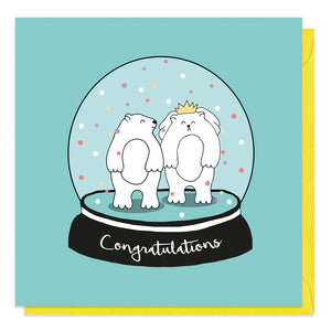 Turquoise card with an illustration of bears getting married in a snow globe
